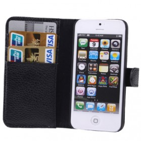 Litchi Texture Genuine Leather Case with Credit Card Slot for iPhone 5 & 5S - Black