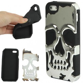 Stylish Skull Style Plastic + Silicone Combination Case with Volume Switch for iPhone 5/5s/SE - Silver Black