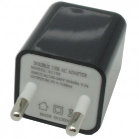 USB Charger 2 Port EU Plug - JBL1309 - Black - 2