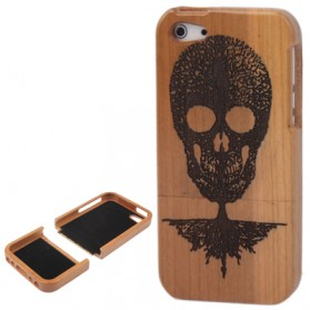 Skull Woodcarving Pattern Detachable Bamboo Material Case for iPhone 5/5s - Chocolate