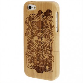 Minority Woodcarving Pattern Detachable Bamboo Material Case for iPhone 5/5s - Chocolate