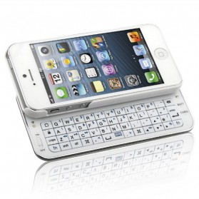 Bluetooth Keyboard Ultrathin Slide Out for iPhone 5/5S/SE - White - 1