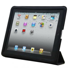 High Quality Ultra Thin Smart Leather Case for iPad 2, Material the Same as S-IPAD2-0385 - Black