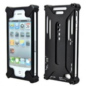 Transformer Style Diagonal Metal Bumper Case for iPhone 4/4s - Black