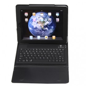 Bluetooth Keyboard with Folding Leather Protective Case for New iPad and iPad 2 - 2