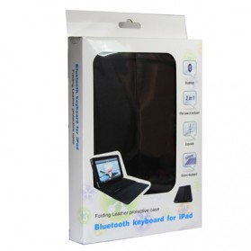 Bluetooth Keyboard with Folding Leather Protective Case for New iPad and iPad 2 - 5
