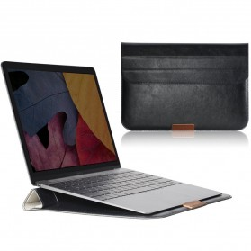 Rock Leather Smart Sleeve Case Bag Stand Hold for MacBook 12 Inch - Black