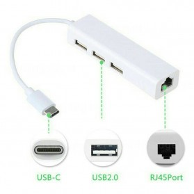 USB LAN Adapter & Card - Apple USB Type C LAN Ethernet Adapter with USB Hub 3 Port (Replika 1:1) - White