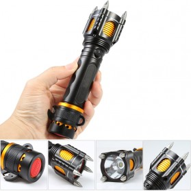 TaffLED  Senter LED Tactical Self Defense Police Cree XM-L T6 2000 Lumens - WY6112 - Black