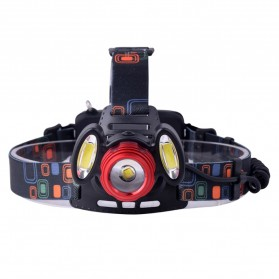 TaffLED Headlamp Flashlight Headlight LED 4 Modes 1 XML-T6 + 2 COB  - EG7448 - Black/Red