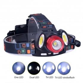 TaffLED Headlamp Flashlight Headlight LED 4 Modes 1 XML-T6 + 2 COB  - EG7448 - Black/Red - 2