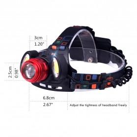 TaffLED Headlamp Flashlight Headlight LED 4 Modes 1 XML-T6 + 2 COB  - EG7448 - Black/Red - 3