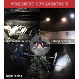 TaffLED Headlamp Flashlight Headlight LED 4 Modes 1 XML-T6 + 2 COB  - EG7448 - Black/Red - 5