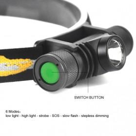 BORUIT Senter Kepala Headlamp Flashlight Headlight LED XML L2 - EHL0628 - Black - 5