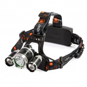 TaffLED Senter Headlamp Headlight 3 LED Cree Rotateable XM-L T6 10000 Lumens - AHT405 - Black