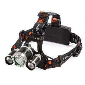 TaffLED Senter Headlamp Headlight 3 LED Cree Rotateable XM-L T6 10000 Lumens - AHT405 - Black - 1