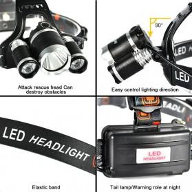 TaffLED Senter Headlamp Headlight 3 LED Cree Rotateable XM-L T6 10000 Lumens - AHT405 - Black - 3