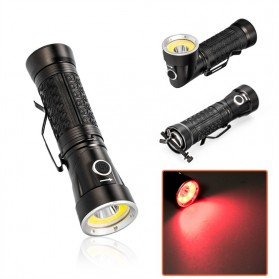 Pocketman Senter LED Rotatable Head Magnetic Tail Cree T6+COB 6000 Lumens - 3188 - Black - 2