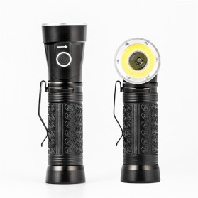 Pocketman Senter LED Rotatable Head Magnetic Tail Cree T6+COB 6000 Lumens - 3188 - Black - 3