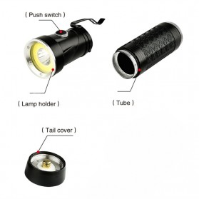 Pocketman Senter LED Rotatable Head Magnetic Tail Cree T6+COB 6000 Lumens - 3188 - Black - 10