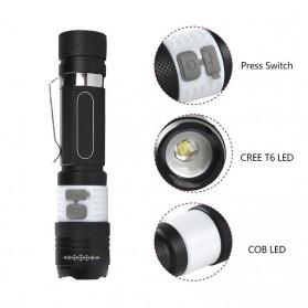 Pocketman Senter LED Mini USB Rechargeable Battery Cree T6+COB - TG-S019 - Black - 7