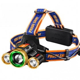 Senter LED Cree - Albinaly Senter Headlamp Light Cree XM-L T6 + 2 LED - TG-T006 - Black