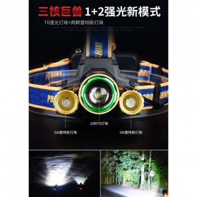 Albinaly Senter Headlamp Light Cree XM-L T6 + 2 LED - TG-T006 - Black - 6