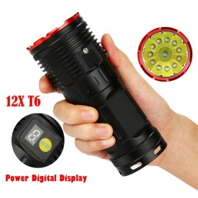 Supwildfire Senter LED Super Bright 12 x Cree XM-L T6 35000 Lumens - 12T6 - Black