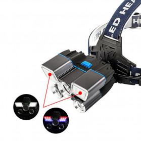 Albinaly Senter Kepala Headlamp Cree XM-L2 + 2XPE + Red Blue LED - TG-007 - Black - 3
