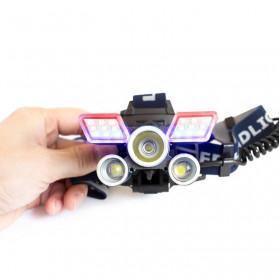 Albinaly Senter Kepala Headlamp Cree XM-L2 + 2XPE + Red Blue LED - TG-007 - Black - 5