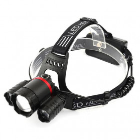 Senter LED Cree - Albinaly Senter Kepala Headlamp Cree XM-L T6 + 2XPE - MT-3005 - Black