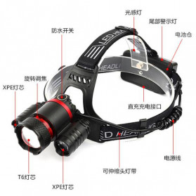 Albinaly Senter Kepala Headlamp Cree XM-L T6 + 2XPE - MT-3005 - Black - 4