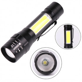 Senter LED Mini / Pocket Flashlight - Albinaly Senter LED USB Rechargeable XML-T6 + COB - 1907 - Black
