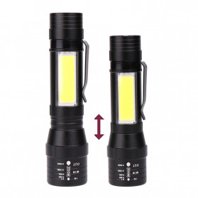 Albinaly Senter LED USB Rechargeable XML-T6 + COB - 1907 - Black - 5