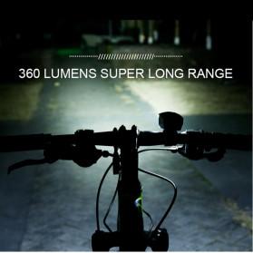 Goofy Lampu Sepeda LED USB Rechargeable Cree T6 300 Lumens dengan Klakson - DT-6105C - Black - 4