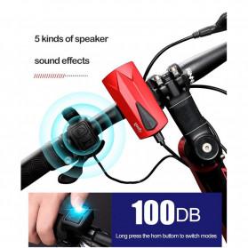 Goofy Lampu Sepeda LED USB Rechargeable Cree T6 300 Lumens dengan Klakson - DT-6105C - Black - 7