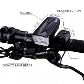 Goofy Lampu Sepeda LED USB Rechargeable Cree T6 300 Lumens dengan Klakson - DT-6105C - Black - 9