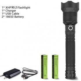 XLAMP Senter LED Flashlight USB Rechargeable XHP90.2 with 2x18650 + EU Adaptor - JHS522X - Black - 1