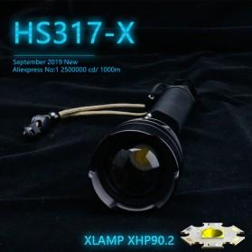 XLAMP Senter LED Flashlight USB Rechargeable XHP90.2 with 2x18650 + EU Adaptor - JHS522X - Black - 2