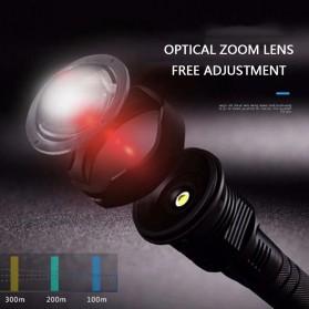 XLAMP Senter LED Flashlight USB Rechargeable XHP90.2 with 2x18650 + EU Adaptor - JHS522X - Black - 6