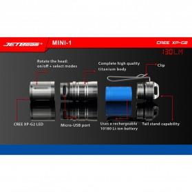 JETBeam Mini-1 Ti Tiny USB Rechargeable Light Senter LED CREE XP-G2 130 Lumens - Silver - 3