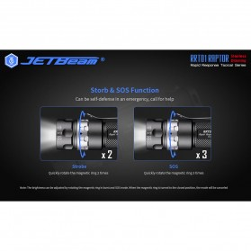 JETBeam RRT01 Raptor Senter LED Nichia 219C 950 Lumens with Extension Tube - Black - 6