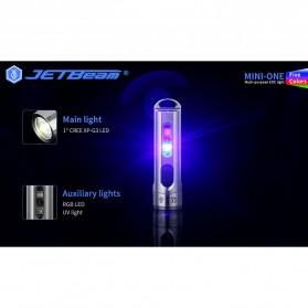 JETBeam Mini One Senter LED USB Rechargeable CREE XP-G3 500 Lumens with RGB + UV Light - Silver - 5