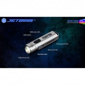 JETBeam Mini One Senter LED USB Rechargeable CREE XP-G3 500 Lumens with RGB + UV Light - Silver - 8