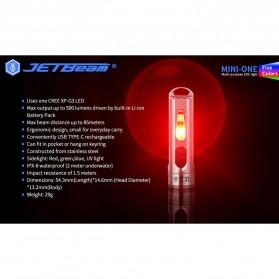 JETBeam Mini One Senter LED USB Rechargeable CREE XP-G3 500 Lumens with RGB + UV Light - Silver - 9