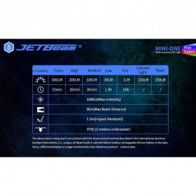 JETBeam Mini One Senter LED USB Rechargeable CREE XP-G3 500 Lumens with RGB + UV Light - Silver - 10