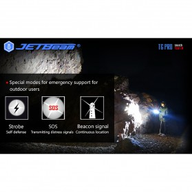 JETBeam T6 Senter LED Flashlight Tactical CREE XP-L 4350 Lumens - Black - 5