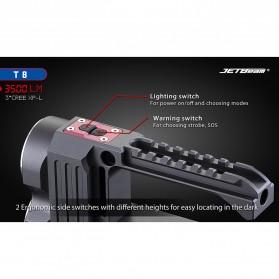 JETBeam T8 Senter LED Flashlight Tactical CREE XP-L 3500 Lumens - Black - 4