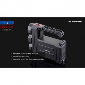 JETBeam T8 Senter LED Flashlight Tactical CREE XP-L 3500 Lumens - Black - 9