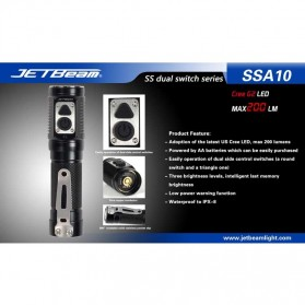 JETBeam SSA10 Senter LED CREE G2 200 Lumens - Black - 8